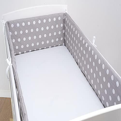 Babysafe Paracolpi Lettino e Culla Neonato - 3 Lati, 180x30 cm - 100% Cotone Certificato Oeko-Tex