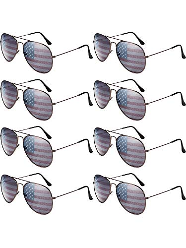 8 Pack USA America American Flag Sunglasses for 4th of July (Bronze Frame)