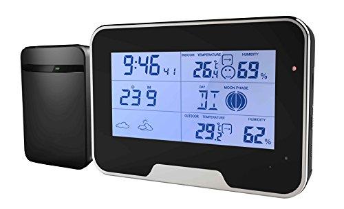Estación meteorológica Espionaje Oculta cámara con detección de Movimiento Función Full HD Mini Cámara Despertador Reloj de Mesa