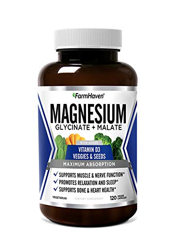Magnesium & Vitamin D3 with Veggies | High Absorption Glycinate & Malate | for Sleep, Muscle & Leg Cramps, Stress Relief, Bone & Heart Health | Non-GMO Magnesium Supplement | 120 Vegan Capsules