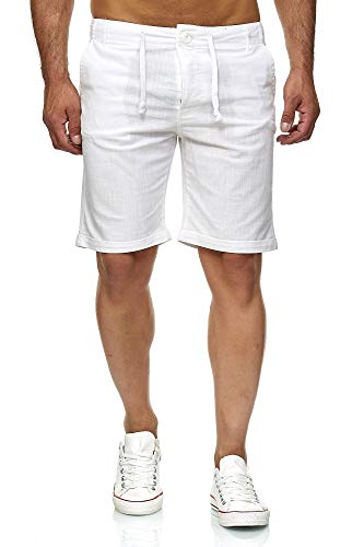 Reslad Leinenhose Kurze Hose Herren Leinen-Shorts lässige Männer Freizeithose Strandhose Stoffhose Sommer-Shorts RS-3002 Weiß XL