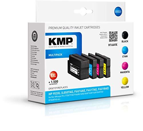 KMP Druckerkartusche für HP Officejet Pro 8710 Schwarz, Cyan, Magenta, Gelb - Kompatibel - Tintenpatrone für HP 953XL - Office Druckerzubehör