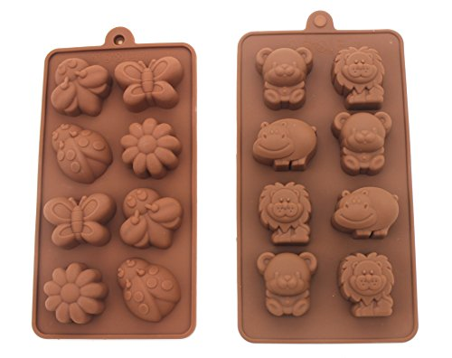 Non-stick Candy Jelly Molds, Chocolate Molds, Soap Molds, Silicone Baking Molds - Forest Cute Theme Happy Bear, Lion, Hippo - More Fun, Toy Kids Set, Set of 2 (Animal)