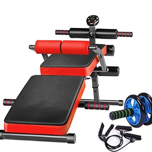 WENSISTAR Verstellbare Faltbare Sitzbank Slant Board, Multifunktions-Booster Workout Für Bauchmuskel-Multifunktionsbank,Rot