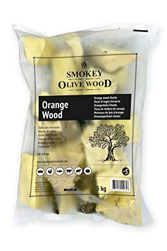 Smokey Olive Wood 5Kg Tacos de Madera de Naranjo para Barbacoa y ahumar, Talla 5 a 10cm