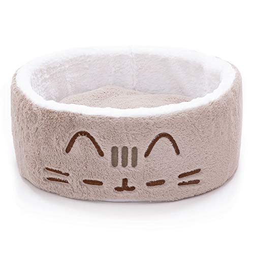 """Pusheen Sleepy Face Cuddling Grey Cat Bed, 18"""" L X 18"""" W X 6.5"""" H, One Size Fits All, Gray / White"""
