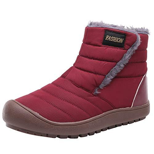 Yowablo Stiefeletten Damen Vintage Schnürschuhe Bequeme Flache Fersenstiefel Kurzer Boot (38 EU,rot)