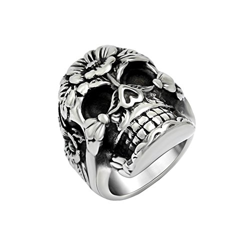 FANSING Mens Punk Biker Rings, Sugar Skull Ring Skeleton, Stainless Steel, Casting Black, Size 9