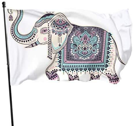 Viplili African Ethnice Tattoo Elefant Hängende Flagge Dekor Flagge Dekorationen 3x5 Fuß Lebendige Farben Qualität Polyester und Messing Ösen