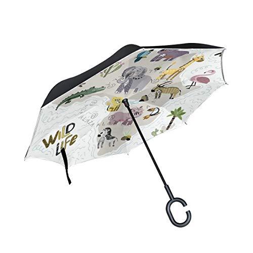 PINLLG Regenschirm, Motiv: Afrika, Wildtiere, Elefant, Zebra, doppelschichtig, umgeklappt, mit C-förmigem Griff, UV-Schutz, winddicht, für Auto, Outdoor