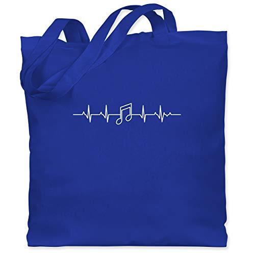 Shirtracer Symbole - Herzschlag Musik Note - Unisize - Royalblau - stoffbeutel musik - WM101 - Stoffbeutel aus Baumwolle Jutebeutel lange Henkel