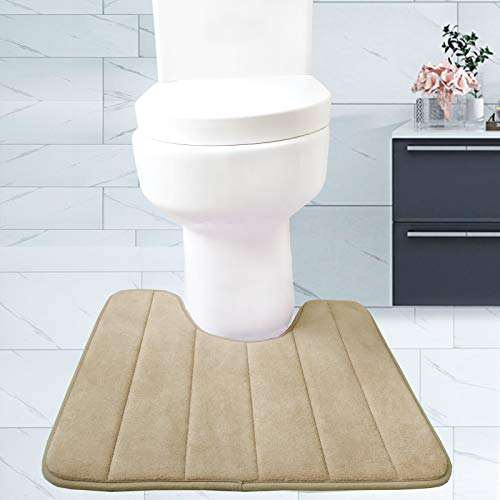 Siyuminle Memory Foam Bath Mat U-Shaped, Super Water Absorption Non-Slip Thick Absorbent Cozy Bathroom Rugs Machine Wash and Easier to Dry for Bathroom Commode Contour Rug (Camel)