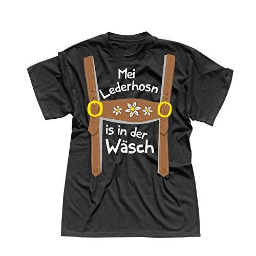 T-Shirt Oktoberfest Lederhose Kostüm Volksfest Tracht 13 Farben Herren XS-5XL München Wiesn Festzelt O'zapft Maß Krug Dirndel, Größe:L, Farbe:schwarz - Logo Weiss