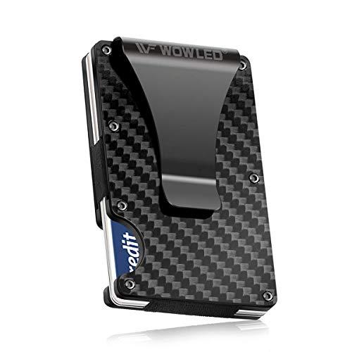 WOWLED Minimalist Men's Wallet, Slim Carbon Fiber Credit Card Holder RFID...
