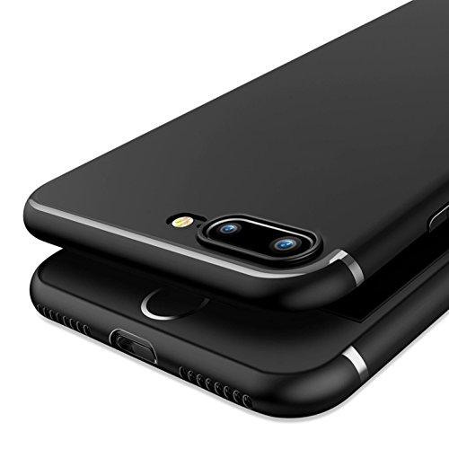 iPhone 7Plus case, Owm [ultra sottile 0.6mm] design slim luce morbida impugnatura in silicone pelle cover per iPhone 7Plus con schermo (nero–senza logo hole)