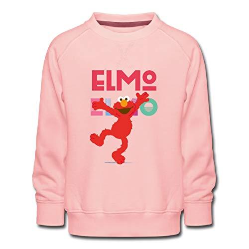 Spreadshirt Sesamstraße Elmo Springt vor Freude Kinder Premium Pullover, 122-128, Kristallrosa