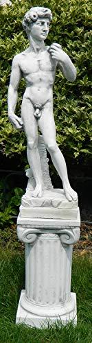 Deko Garten Figur Statue David von Michelangelo auf ionischer Säule als Satz Skulptur aus Beton Gesamthöhe 92 cm