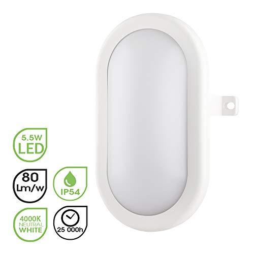 Lampe de cloison LED elliptique Plafonnier Applique Éclairage Luminaire, 5.5W 4000K 450LM IP54, Pour l'Intérieur et l'Extérieur - Blanc