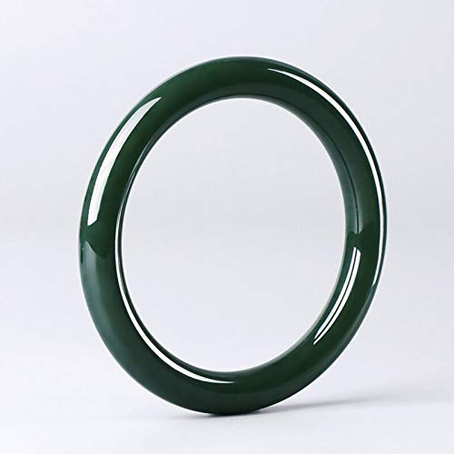 Natural Hetian jade sapphire bracelet Thin round jade bracelet brings good luck and wealth,60-61mm