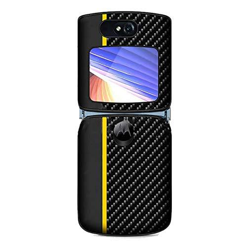 Xindemei für Motorola Razr 5G Kohlefaser Kunstleder Handyhülle Schutzhülle Hybrid PC Hard Flip Folding Stoßfeste Stoßstange Hülle (Gelb)