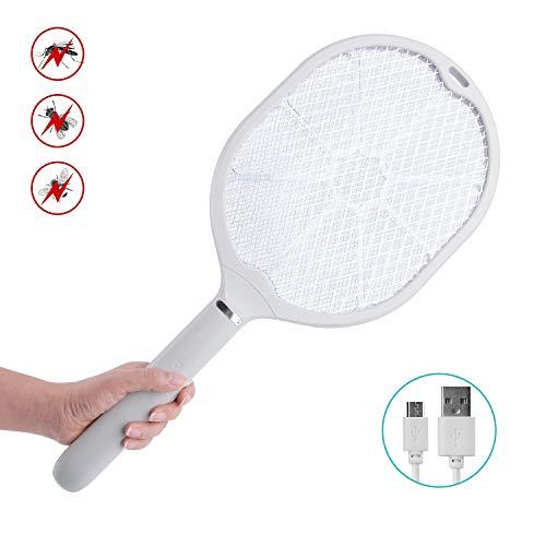 Mafiti MS300 Raqueta Antimosquitos Recargable. Raqueta Matamoscas Electrica Elimina Mosquitos Electrico,3000 Voltios. Seguro para uso en el hogar.