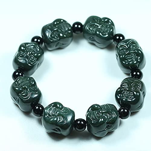 YUNHE Pulsera Verde de Jade de nefrita Hetian Natural para Hombres y Mujeres, Pulseras de Cabeza de Buda de Doble Cara pulidas, joyería Fina de Amor