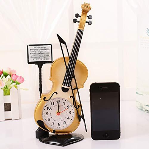 Monllack Vintage Único Violín Antiguo Reloj Despertador de Escritorio Suministros de Oficina Decoración para el Hogar Artesanía Artesanía Niños Regalo
