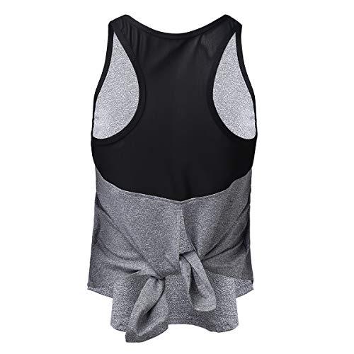 Agoky Chaleco Deportivo Camiseta de Tirantes Mujer Camisetas Chaleco Verano sin Mangas para Yoga Fitness y Deportes Gris M