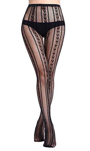 HO-Ersoka Damen Strumpfhose Zopfmuster Optik feines Netz schwarz onesize