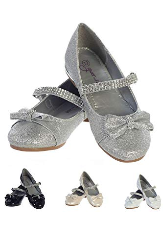 Gwen & Zoe Girl Dress Flats Shoes for Weddings, Christmas and Parties - Big and Little Girl Flats, Toddler, First Communion with Rhinestone Strap Silver