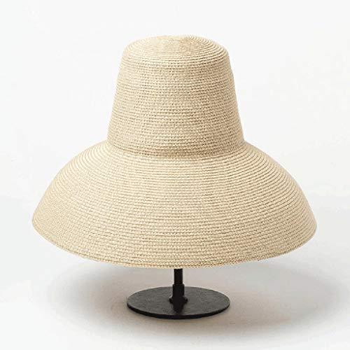 GLUTINOUS Mujer lámpara lámpara Sol Sombrero Rojo Negro Beige Ancho Sombrero de Verano Sombrero de Playa Alta Tapa Plegable Tapa Gorra Gorra de Viaje (Color : B)