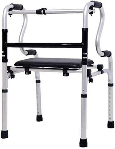 Walking Frame, Folding Zimmer Walker Lightweight Portable Walking Mobility Aids for Elderly Disabled Adjustable Height with Shower Chair Rollator with 2 Wheels,pu seat with Wheel