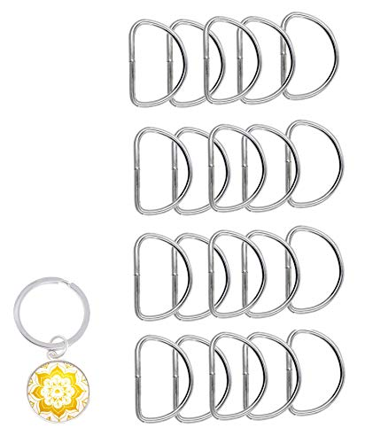 Mandala Crafts Heavy Duty Metal D Rings for Purse, Luggage, Backpack, Sewing, Keychain, Harness, Belt, Leash, Dog Collar, Hanging (4.5mm Thick 2 Inches Wide 20 PCs, Silver Tone)