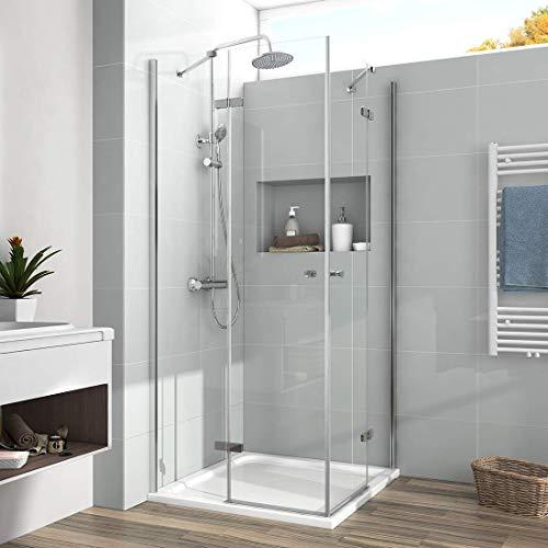 Duschkabine 90x90cm Eckeinstieg Duschabtrennung Dusche 6mm ESG Glas Doppel Scharniertür Duschtür Komplett duschkabine mit Beidseitiger Nano Beschichtung Höhe 185cm