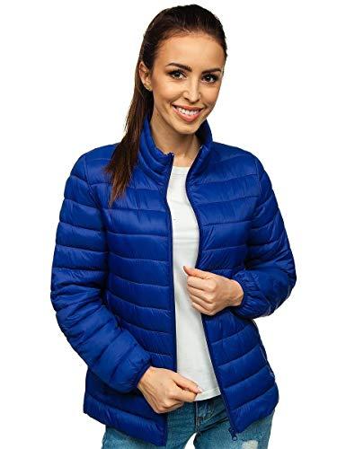 BOLF Damen Steppjacke Übergangsjacke Daunenjacke Reißverschluss Sportjacke Gepolstert Zip Outdoor Casual Style J.Style 20311 Blau S [D4D]