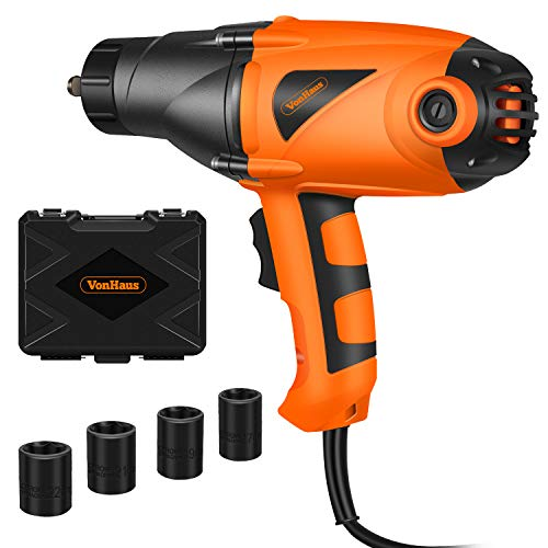 VonHaus Impact Wrench 450Nm Torque Electric Nut Removal Tool with 1/2' Square Drive Hog Ring Anvil and Hard Case