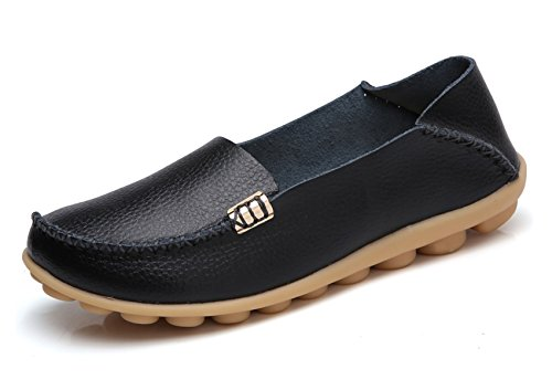VenusCelia Women's Natural Comfort Walking Flat Loafer(7.5 M US,Black)