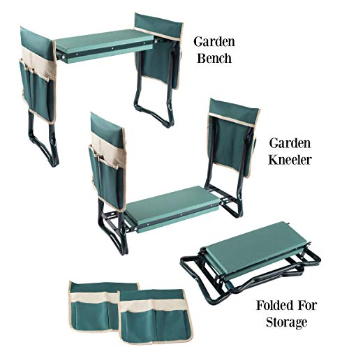 Pure Garden 50-LG5096 2 Tool Pouches & Handles Gardening Kneeling Bench-Foldable Foam Pad Stool for Kneelers, Green