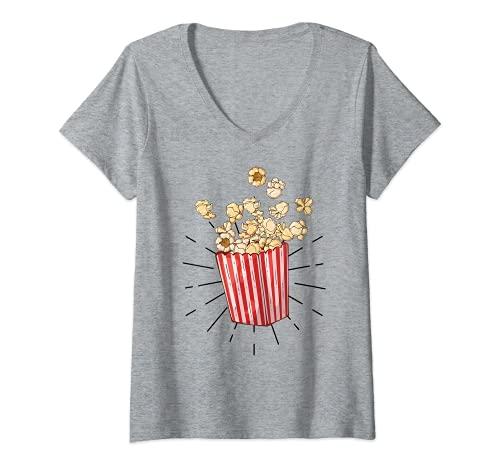 Mujer Palomitas de maz retro vintage - popcorn Camiseta Cuello V