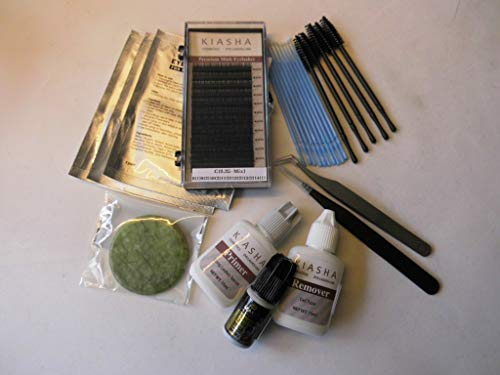 Wimpernverlängerung Starter-Set mit KIASHA Mink Lashes und Zubehör (0,25 C-curl 8-14 mm)