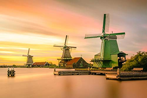 Diopn 5D Diamant Schilderij Zaanse Schans Nederland Molen Landschap Diamant Borduurwerk Cross Stitch Kit Home Decor(Rond Diamant 30 * 40) 30 * 40