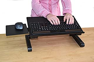 WorkEZ Keyboard and Mouse Tray ergonomic adjustable height angle negative tilt sit to stand up on-desk table-top desktop standing computer stand riser lift raise keyboards to standing height,black