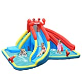 6. BOUNTECH Inflatable Water Slide, Crab Themed Bouncer Park w/Double Slides, Climb Wall, Splash Pool, Tunnel, Water Cannon, Including Oxford Carry Bag, Repair Kit, Stakes, Hose (Without Blower)
