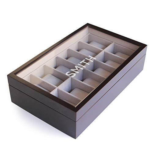 Caja Organizadora de Relojes de Madera Maciza Color Café Oscuro con Tope de Vidrio Exhibidor Hecho por CASE ELEGANCE - 12 Compartimientos - con Monograma