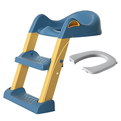 Asiento Aseo Escalera para Niños Portátil, Reductor WC con Escalera Niños, Adaptador para Inodoro 1-8 Años Niños, Fácil Almacenamiento