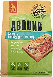 Abound Grain Free Natural Adult Dog & Puppy Dry Food, Lamb & Brown Rice Recipe, 4 lbs