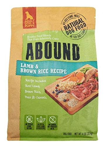 Abound Natural Adult Dog & Puppy Dry Food, Lamb & Brown Rice Recipe, 4 lbs