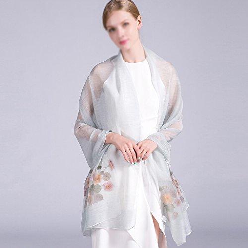 Reizen sjaals ZI LING SHOP- Womens 100% Mulberry zijde sjaals lichtgewicht zonnebrandcrème sjaals en strand wraps herfst verloop kleur 190x80cm (kleur: kleur-b)