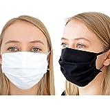 BambiniWelt Mund-Nasen-Maske Gesichtsmaske 3-lagig Baumwolle Filter Vlies wiederverwendbar (5-Stück, schwarz)