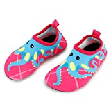 Bigib Toddler Kids Swim Water Shoes Quick Dry Non-Slip Water Skin Barefoot Sports Shoes Aqua Socks for Boys Girls Toddler (7 Toddler, Pink Octopus)